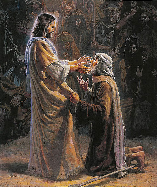 pictures of jesus healing blind man
