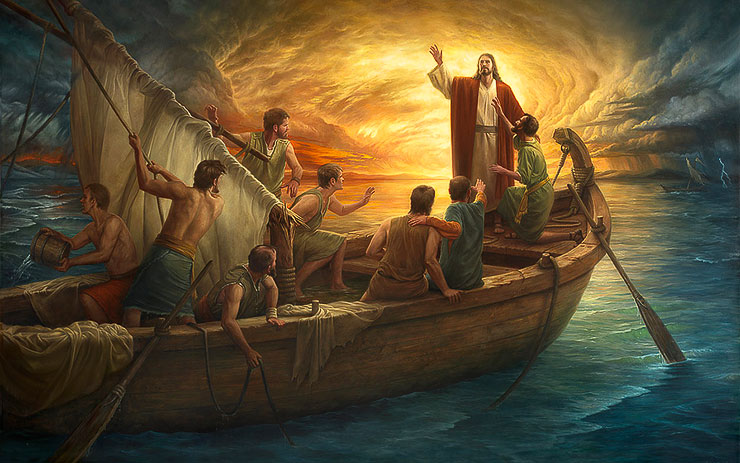 god images jesus storm boat
