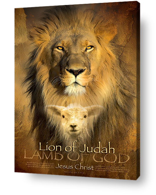 christian wall art decor canvas - Lion of Judah, lamb of God