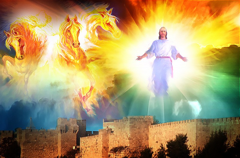 Picture of the second coming of Jesus Christ, according to Bible prophecy