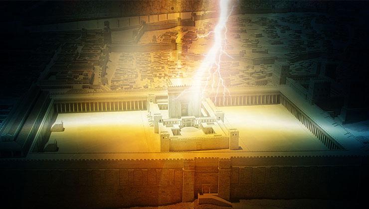 temple illuminated