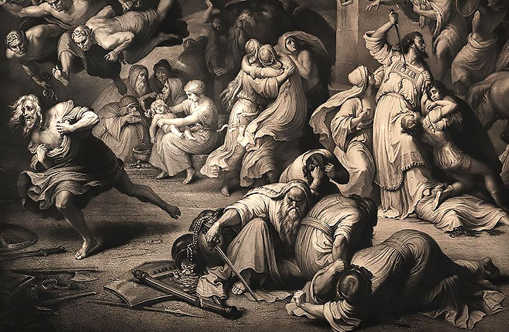 Painting of famine in Jerusalem, in the first century